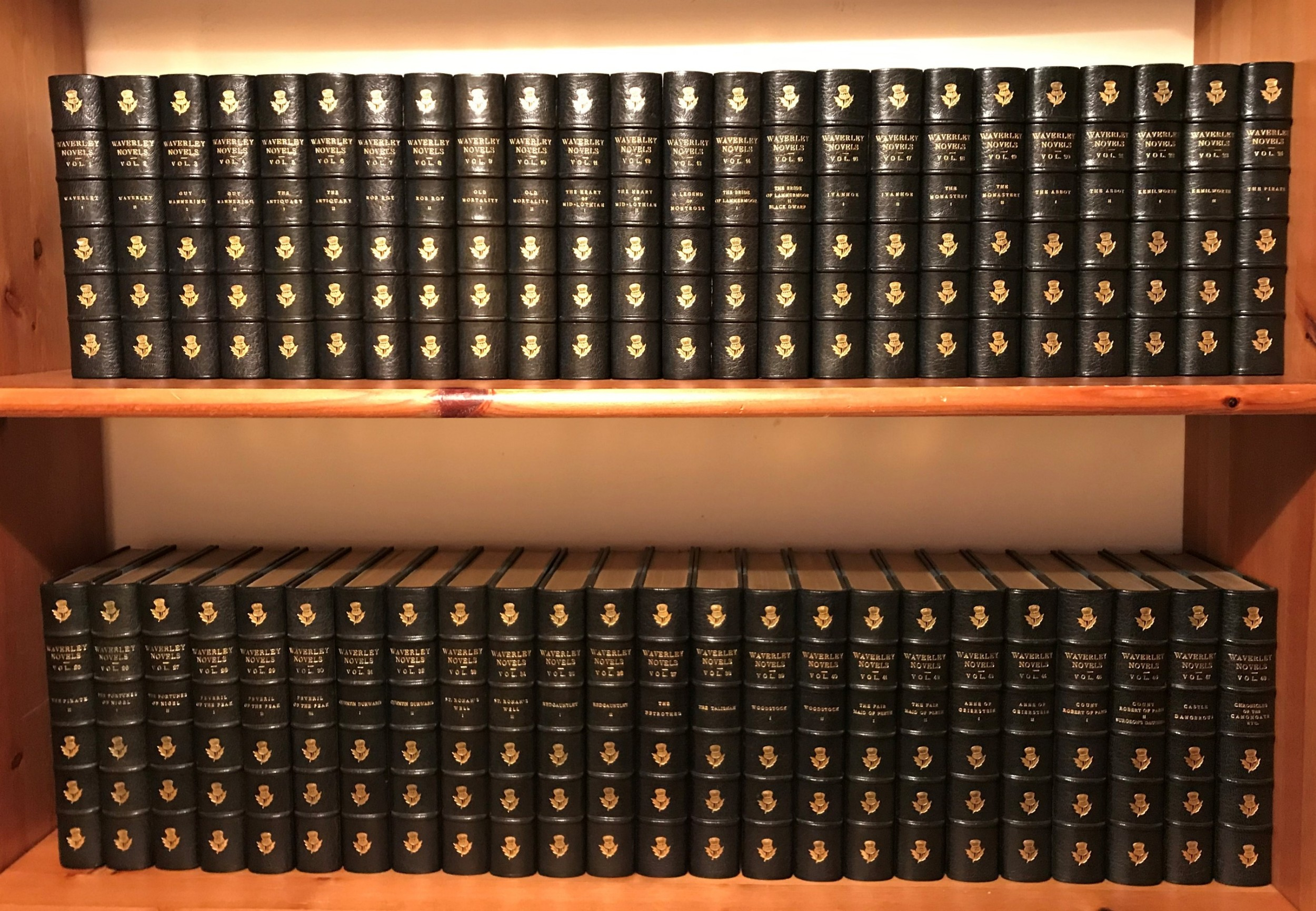 a fabulous and complete set of sir walter scott's waverley novels in 48 books dated 18921894