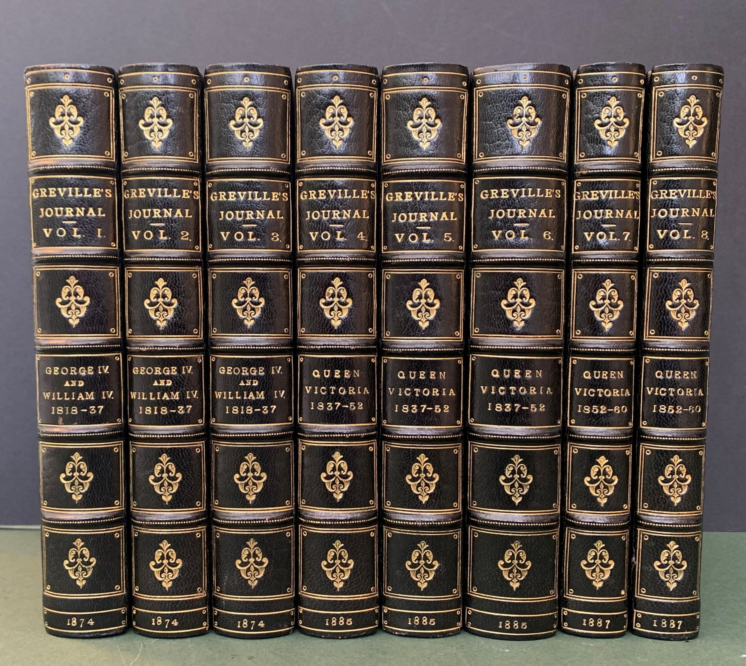 superb set of the greville memoirs in 8 first edition books