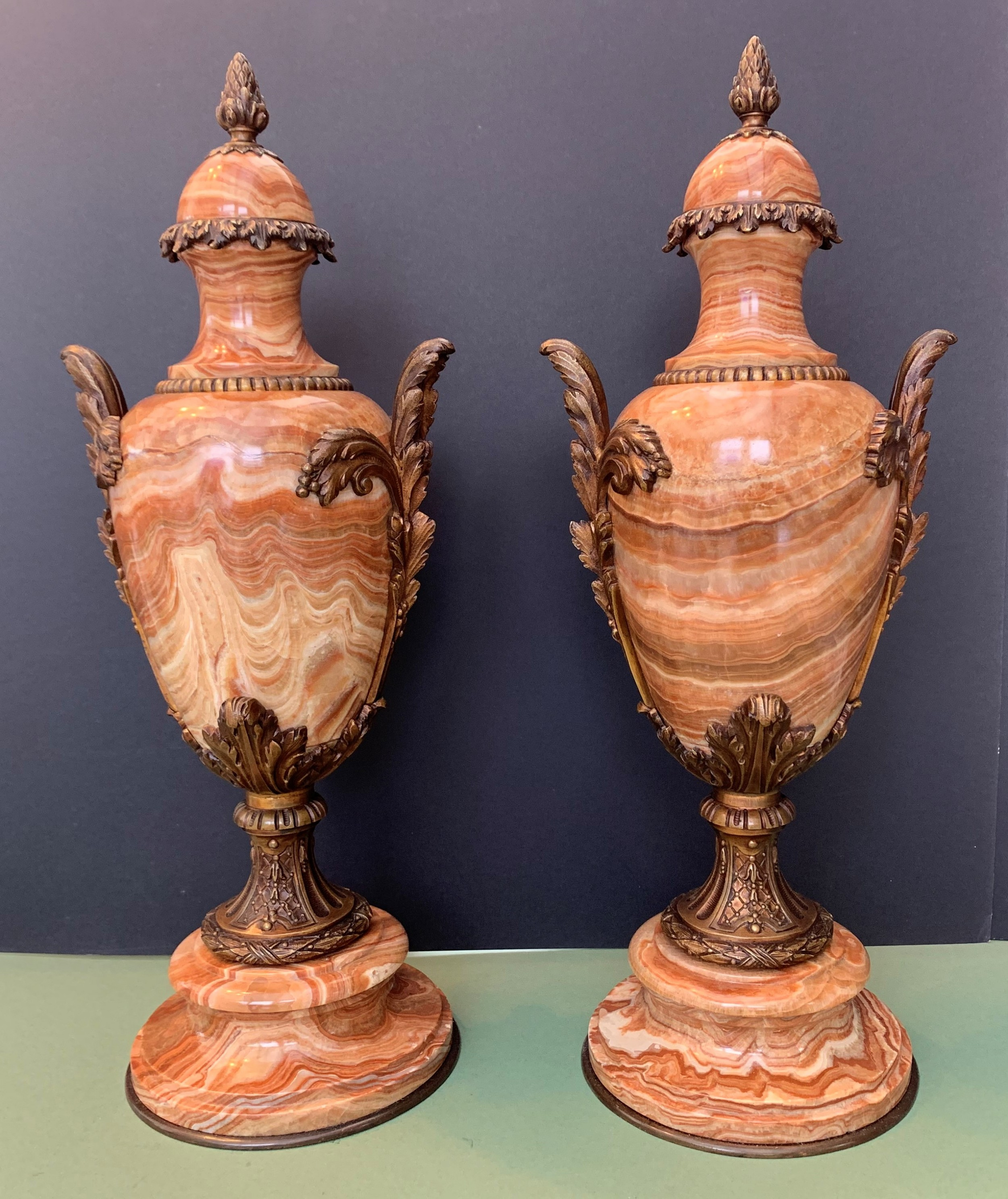 decorative pair of french antique bronze and onyx urns