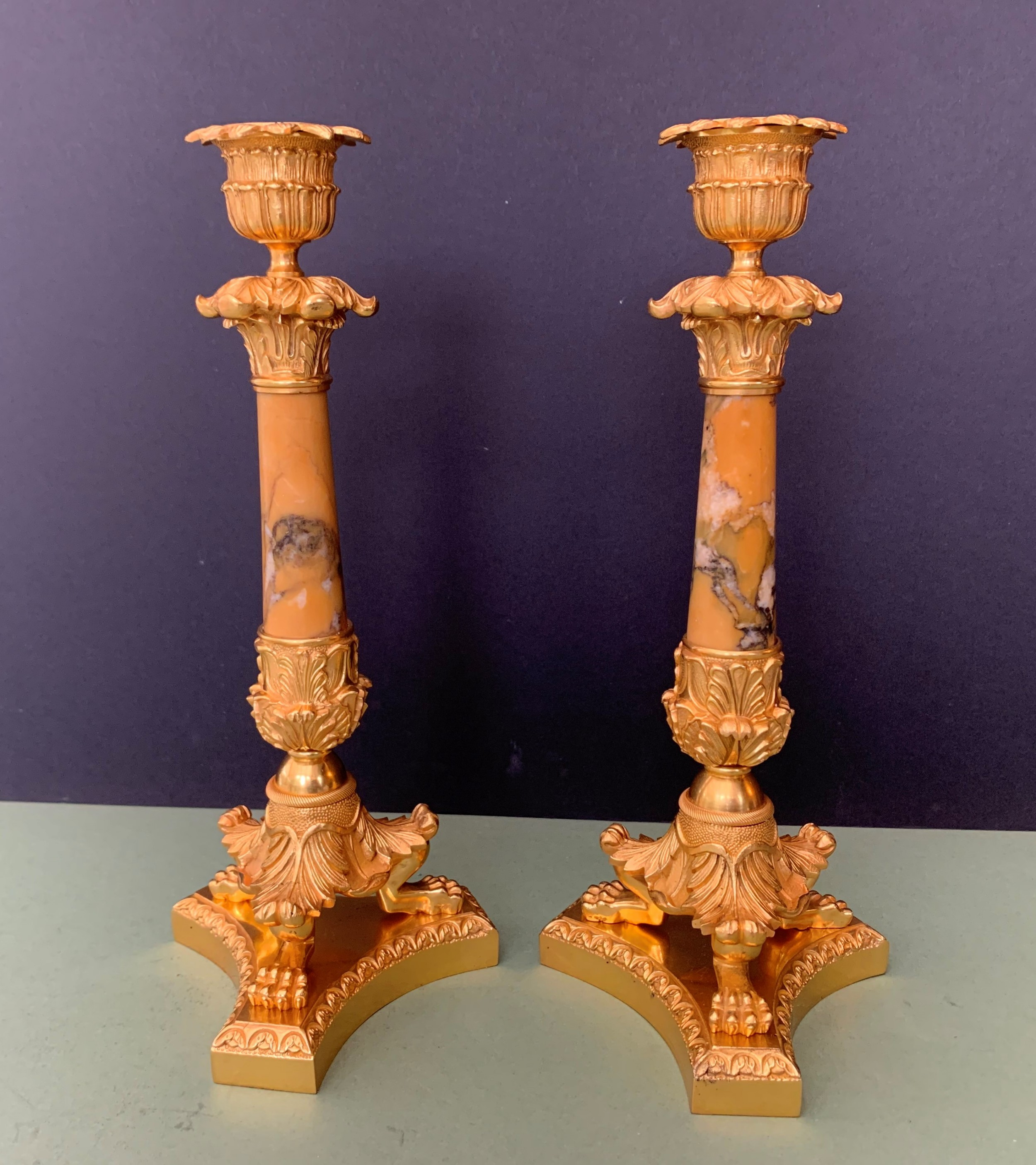 pair of french grand tour gilt bronze and sienna marble candlesticks circa 1830