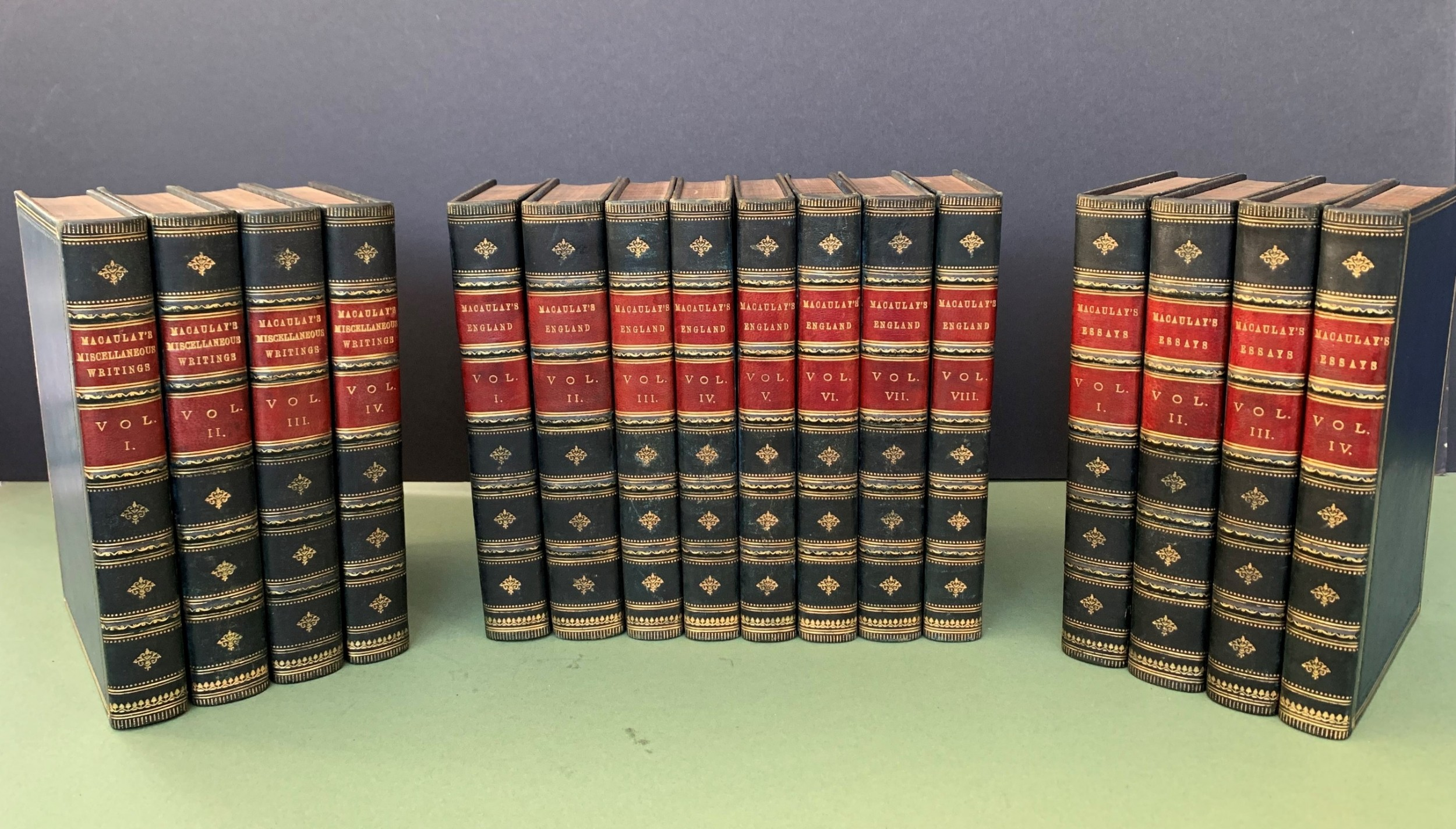 3 sets of works by lord macaulay in 16 uniformly bound leather books 18801895