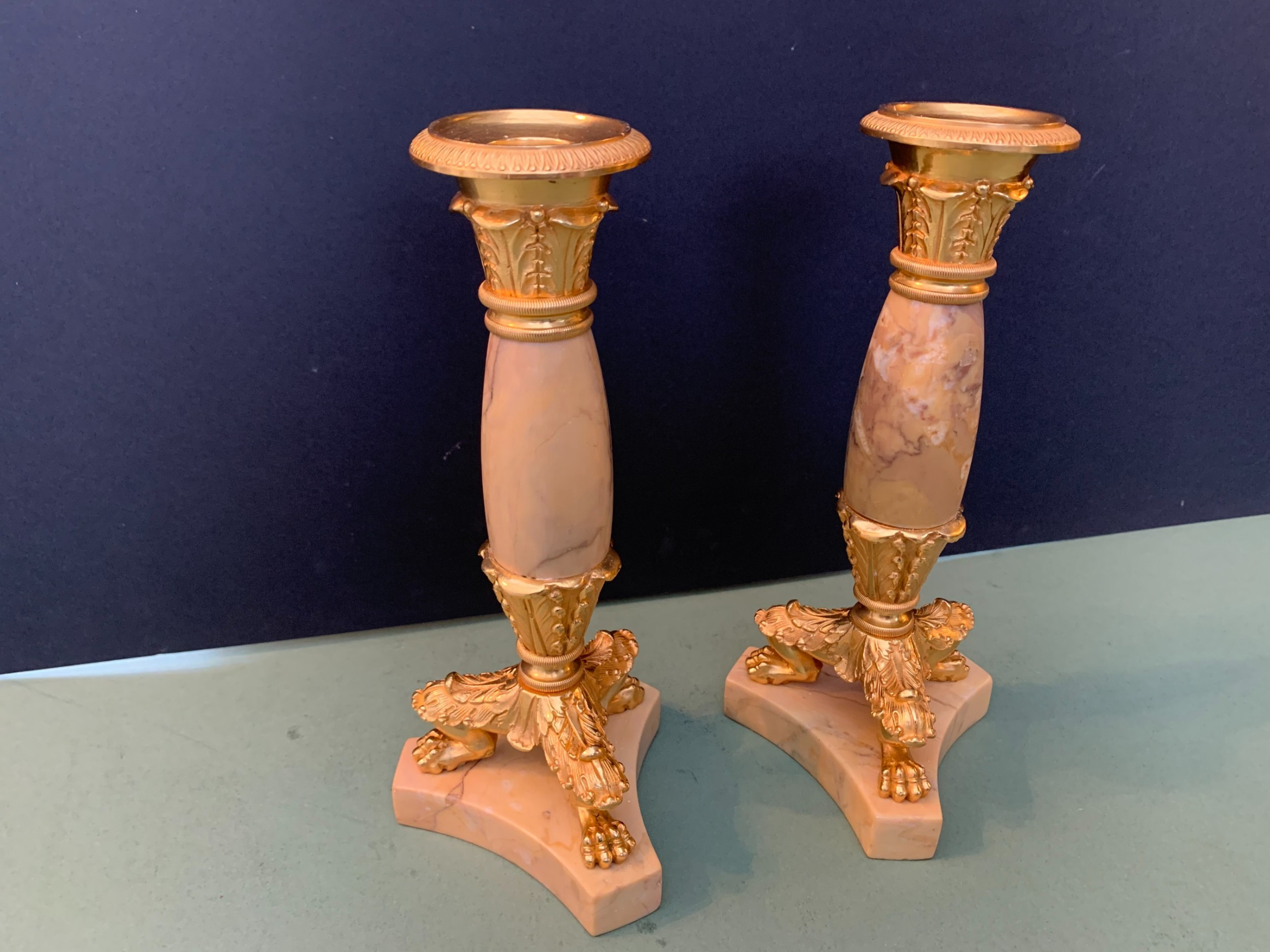 pair of mid 19th century french grand tour gilt bronze and siena marble candlesticks