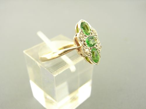 green garnet and diamond ring - photo angle #3