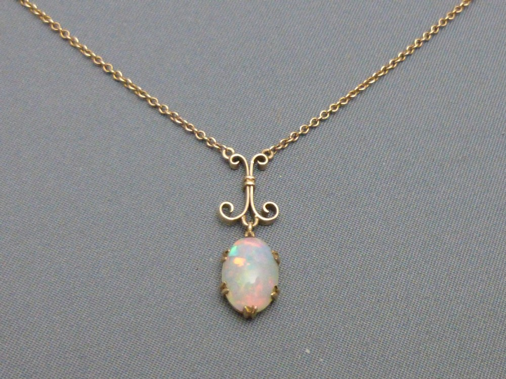 9ct gold and opal pendant and chain 270729 sellingantiques 9ct gold and opal pendant and chain mozeypictures Gallery