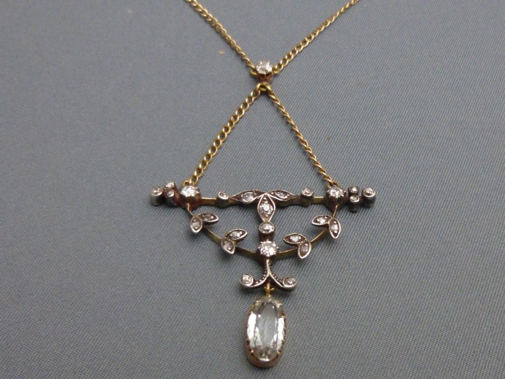 15ct gold diamond and aquamarine necklace