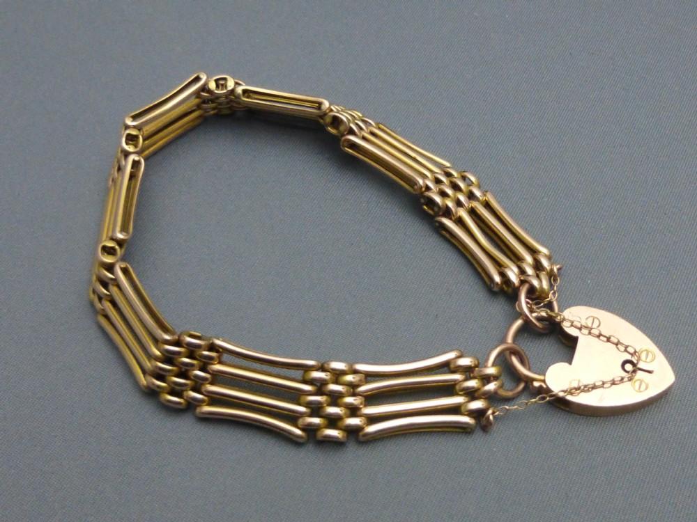 9ct gold gate bracelet 324629 sellingantiques co uk