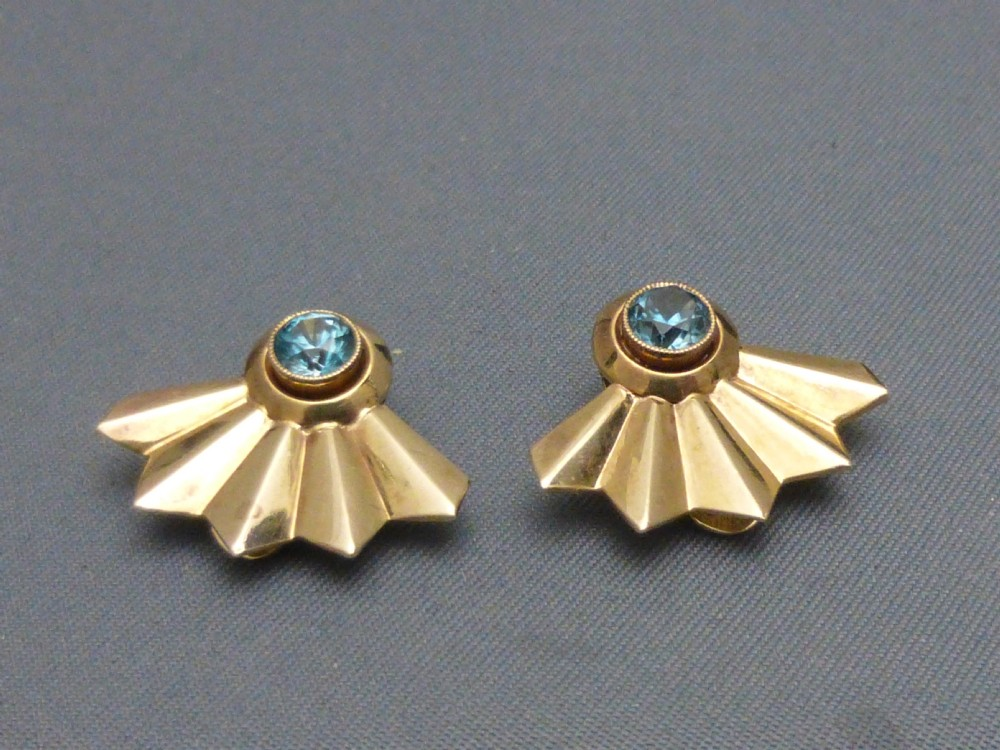 9ct gold and blue zircon clip earrings