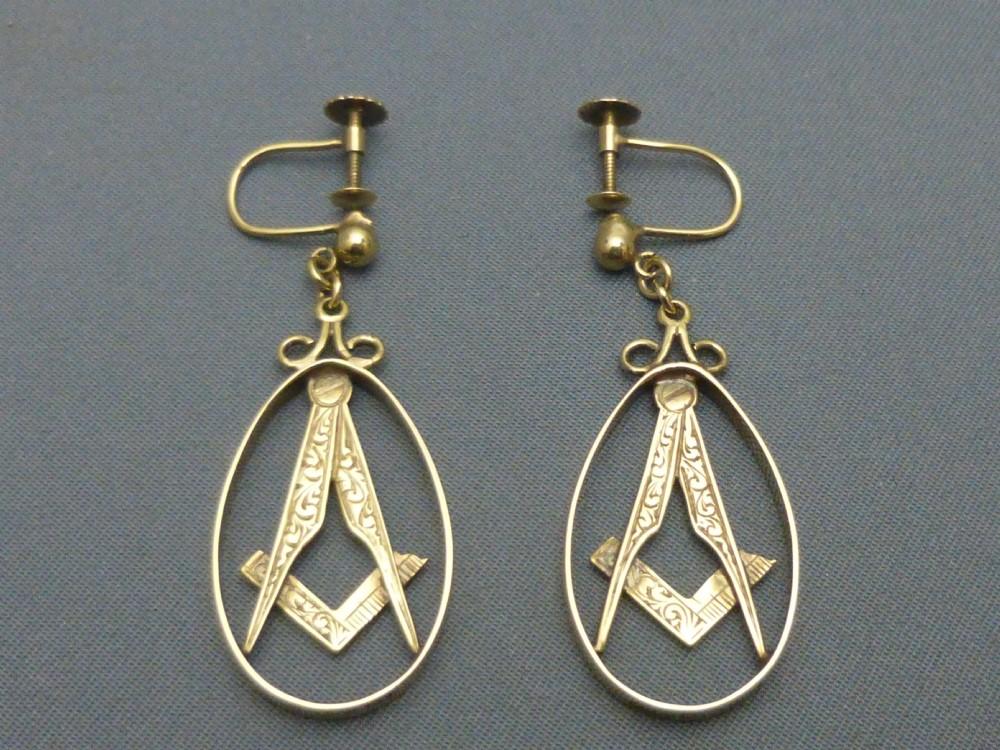 9ct gold masonic earrings