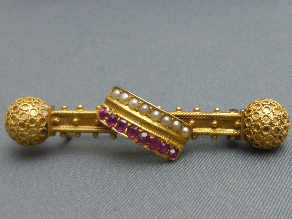 18ct ruby and pearl brooch