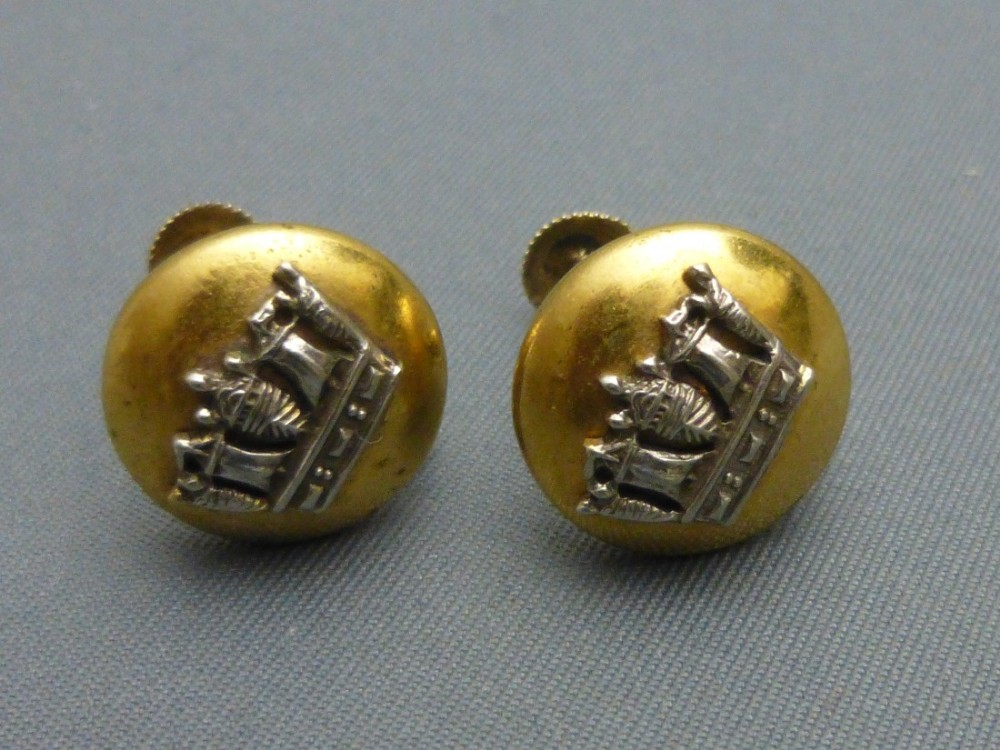 pair of silver and silver gilt naval crown earrings