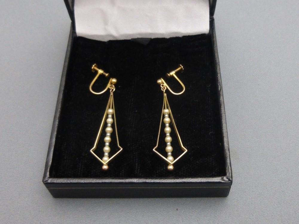 9ct gold faux pearl earrings