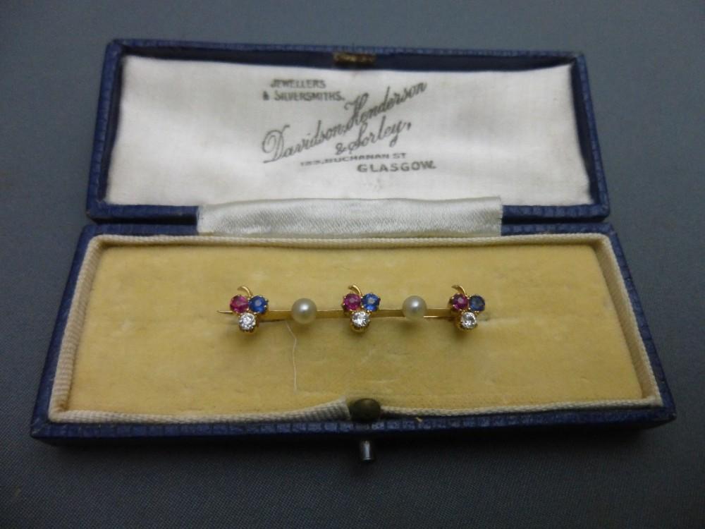 edwardian 15ct goldsapphirediamondruby and pearl brooch