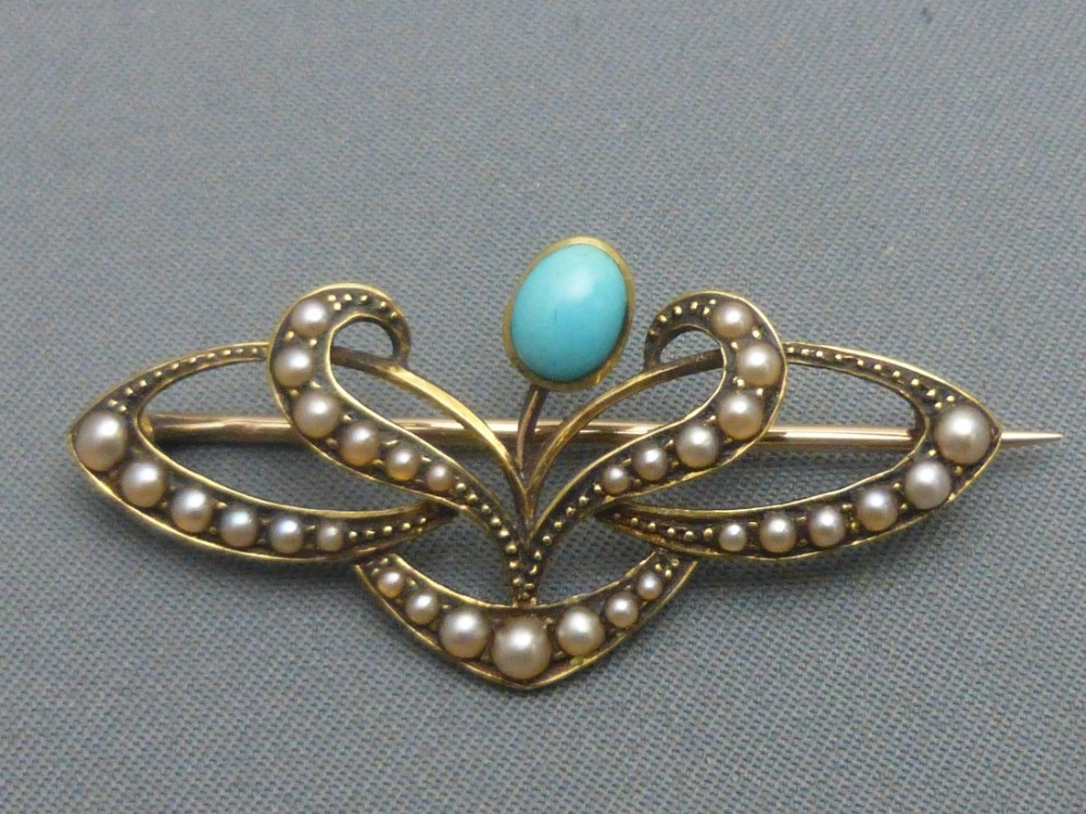art nouveau 15ct gold turquoise and pearl brooch
