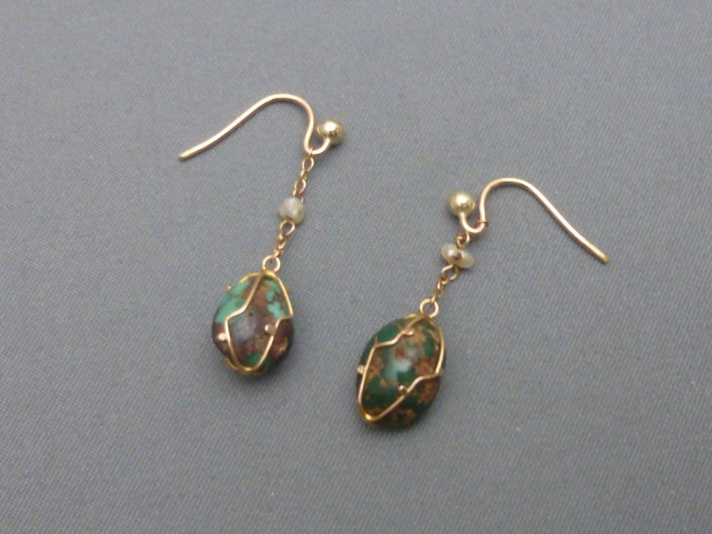 pair of edwardian 9ct goldturquoise matrix and pearl set earrings