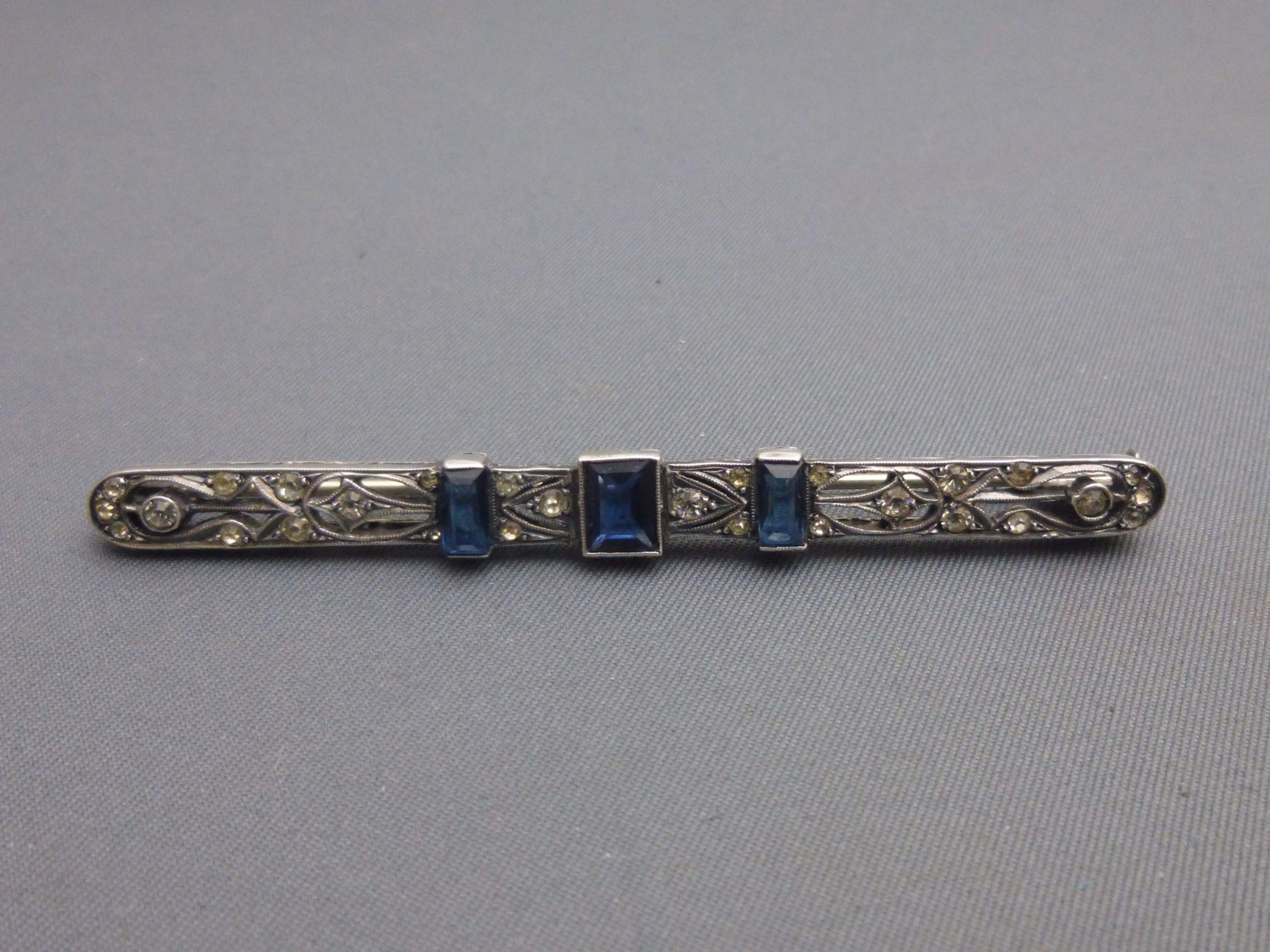 art deco french silver paste brooch