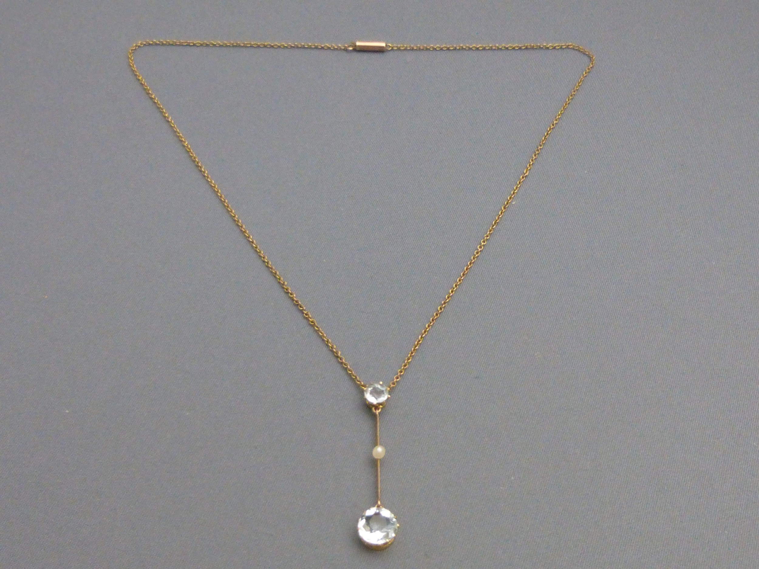edwardian aquamarine and pearl 9ct gold necklace