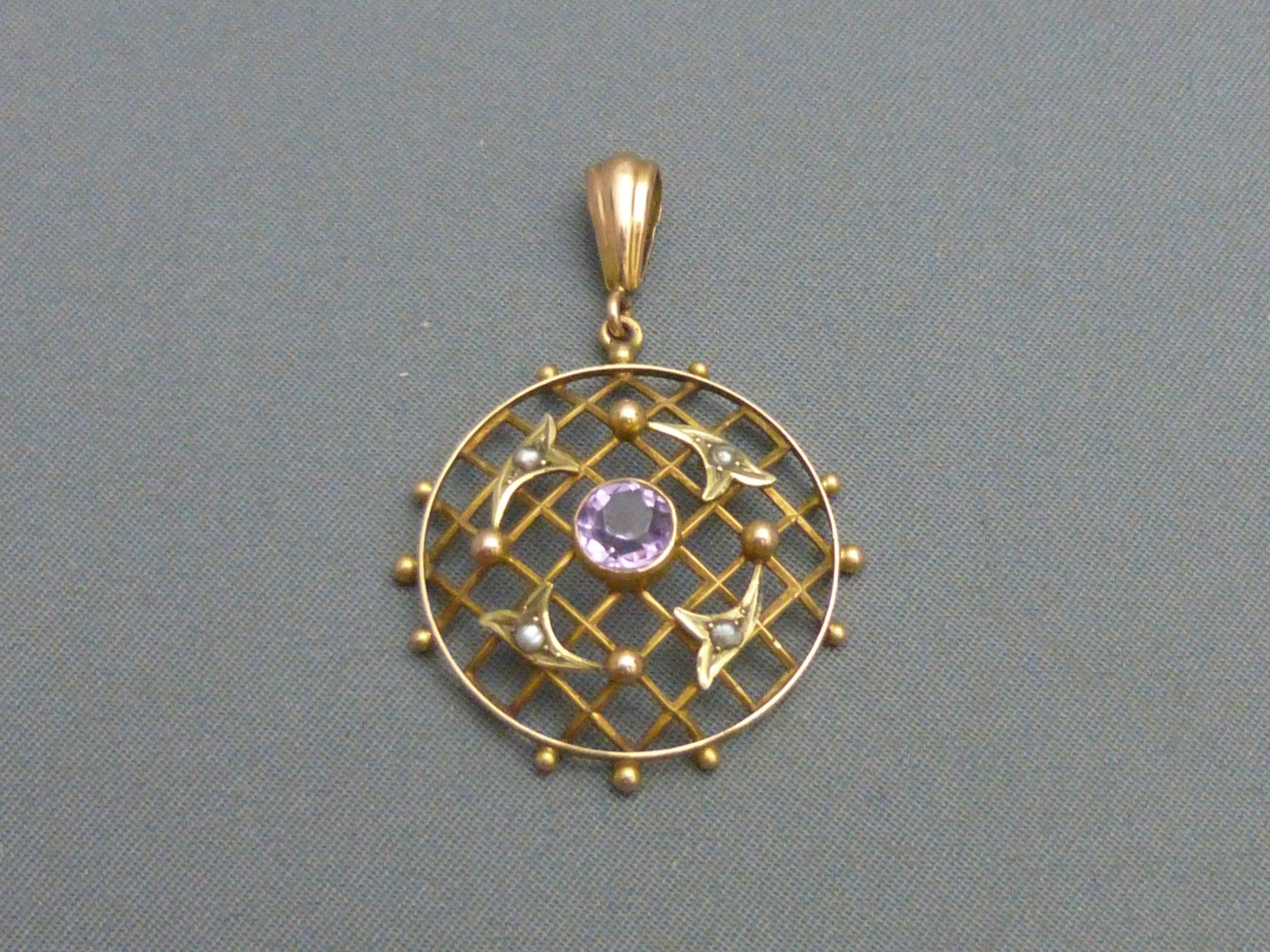 edwardian 9ct gold amethyst and pearl pendant