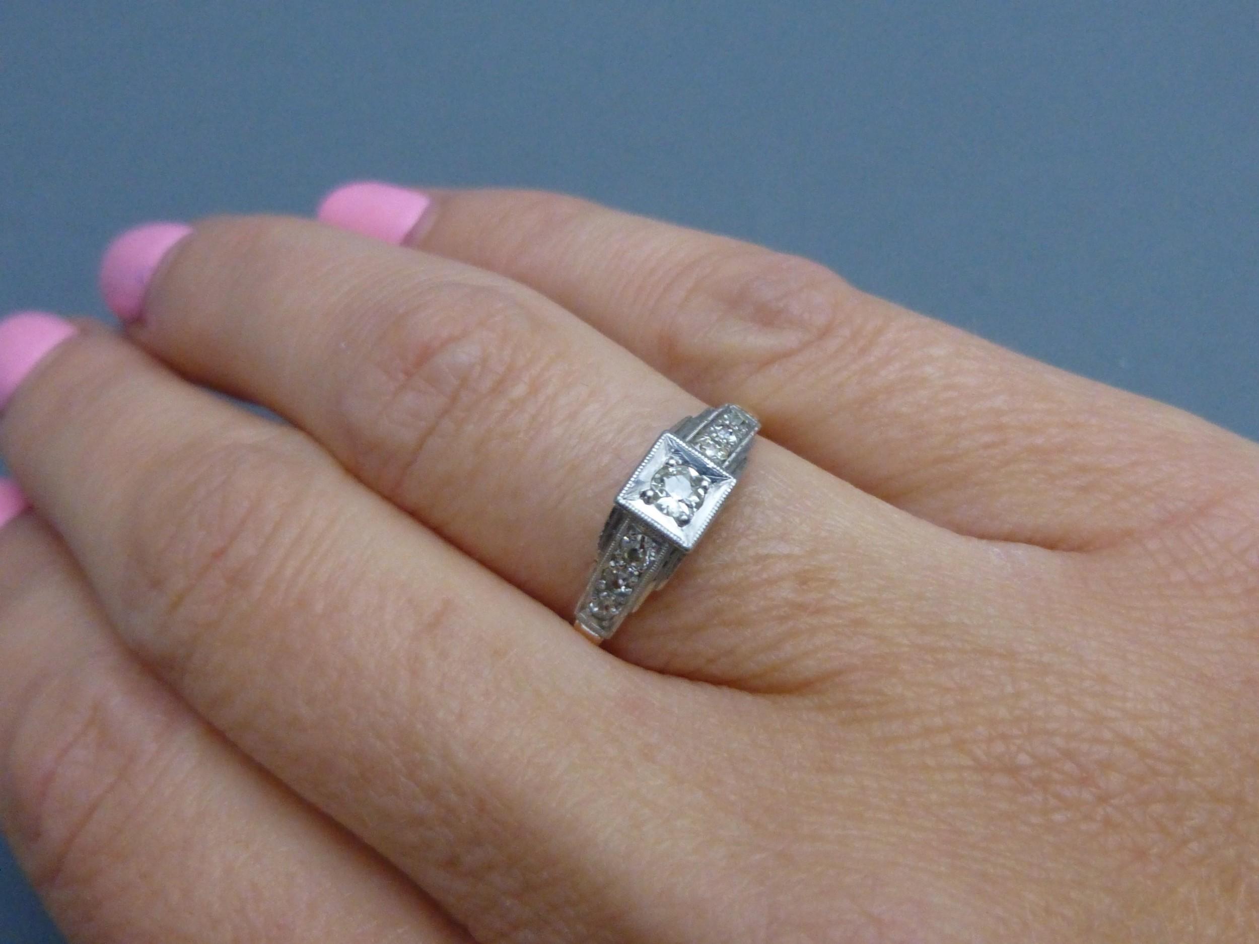 art deco 18ct goldplatinum and diamond ring