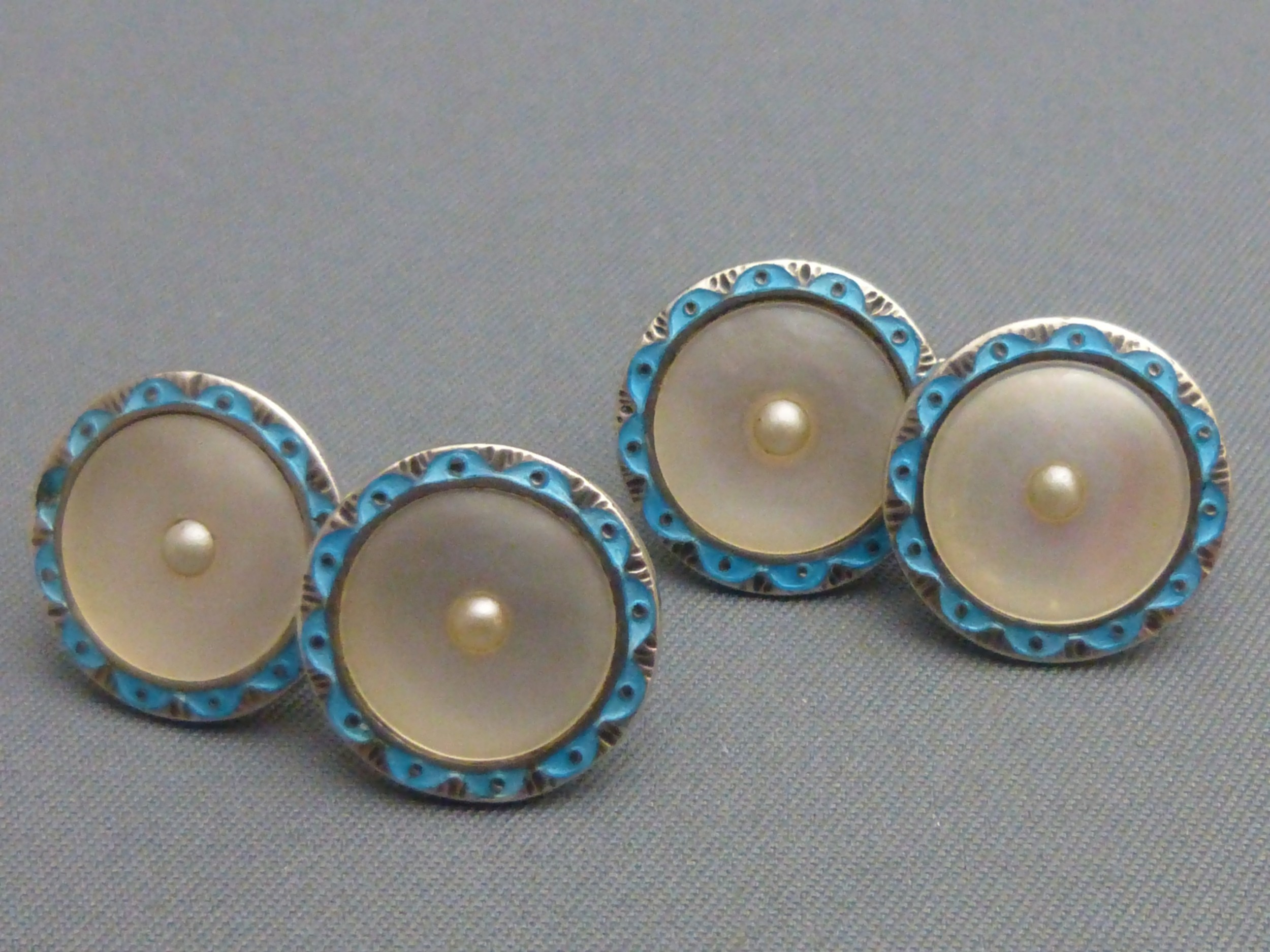 art deco sterling silver blue enamel mother of pearl and faux pearl cufflinks
