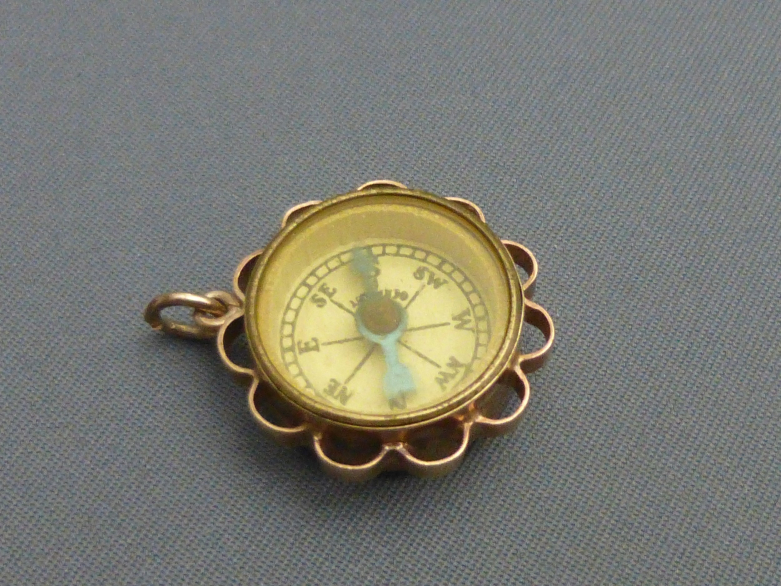 9ct gold compass st christopher fob