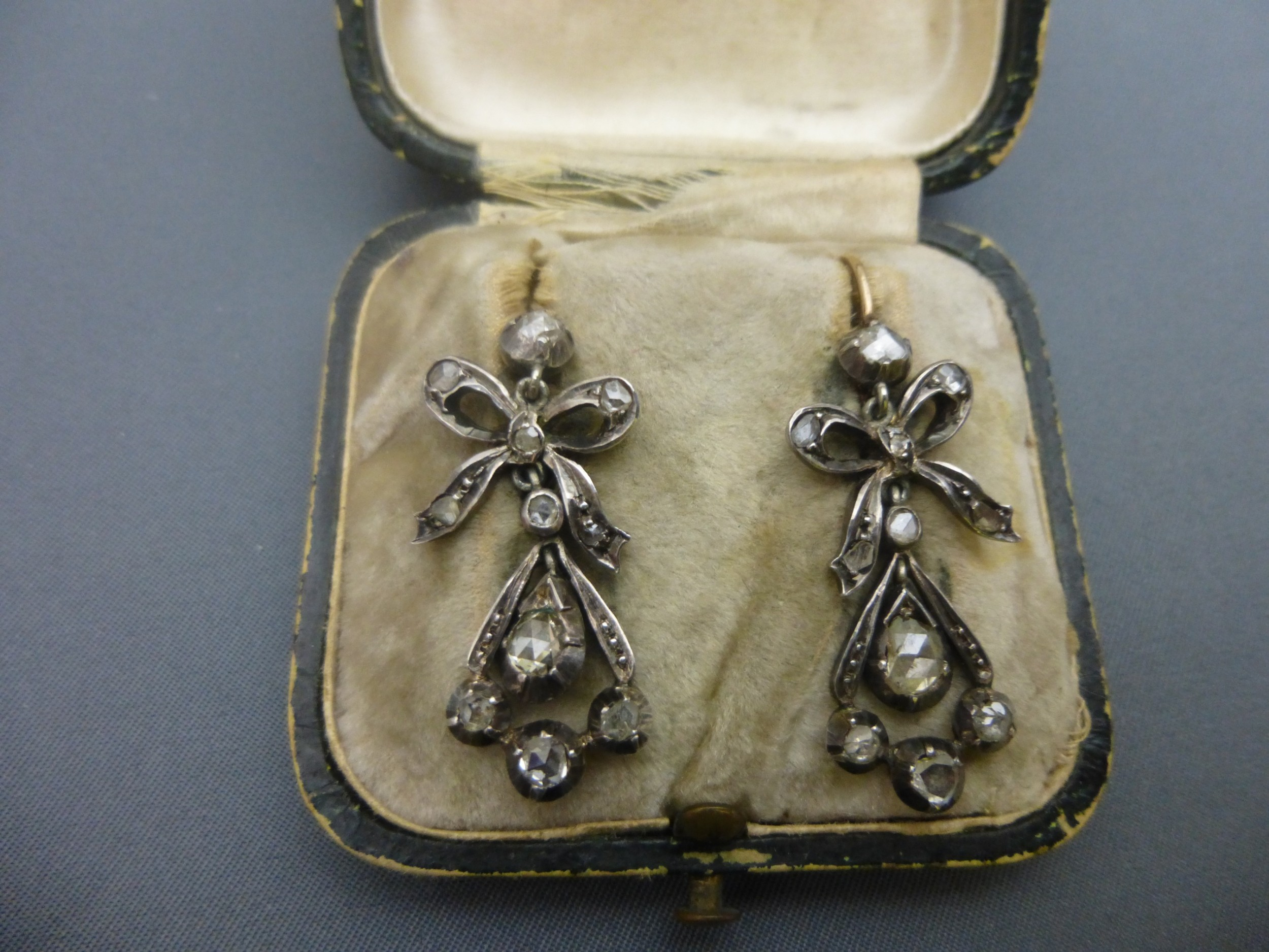 a pair of victorian rose diamond drop earrings