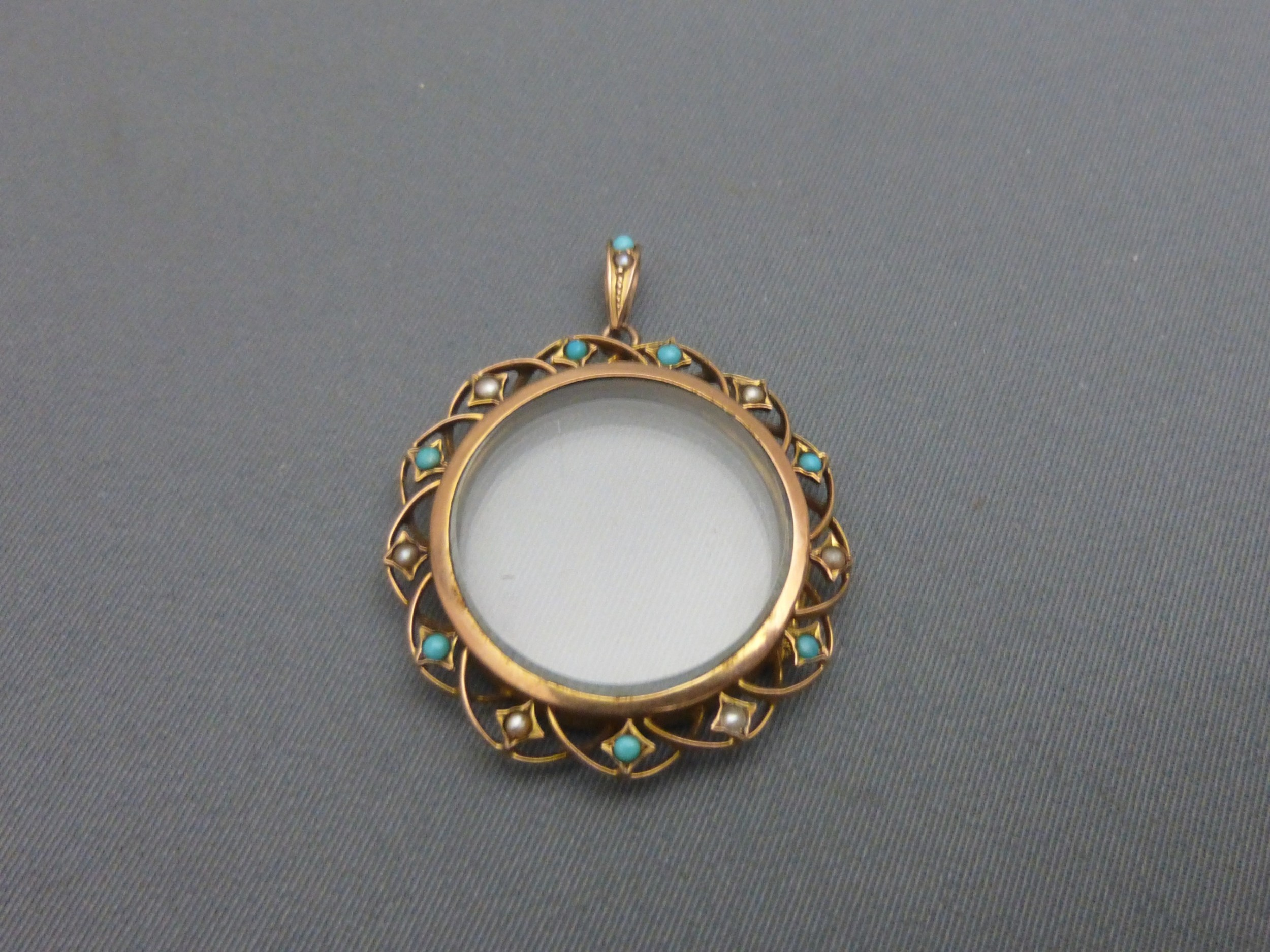 edwardian 9ct goldturquoise and pearl set locketpendant