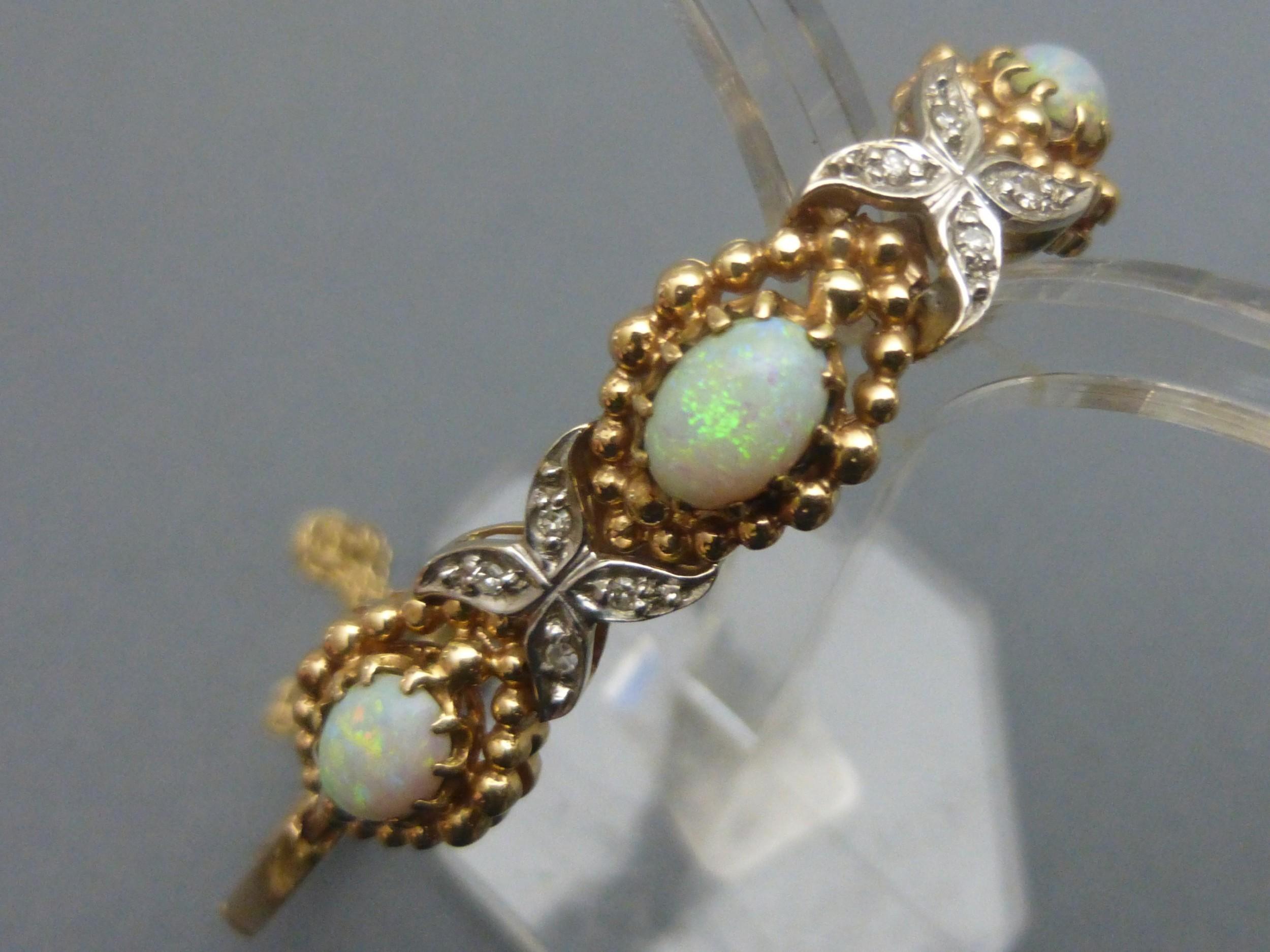 14ct goldopal and diamond bracelet