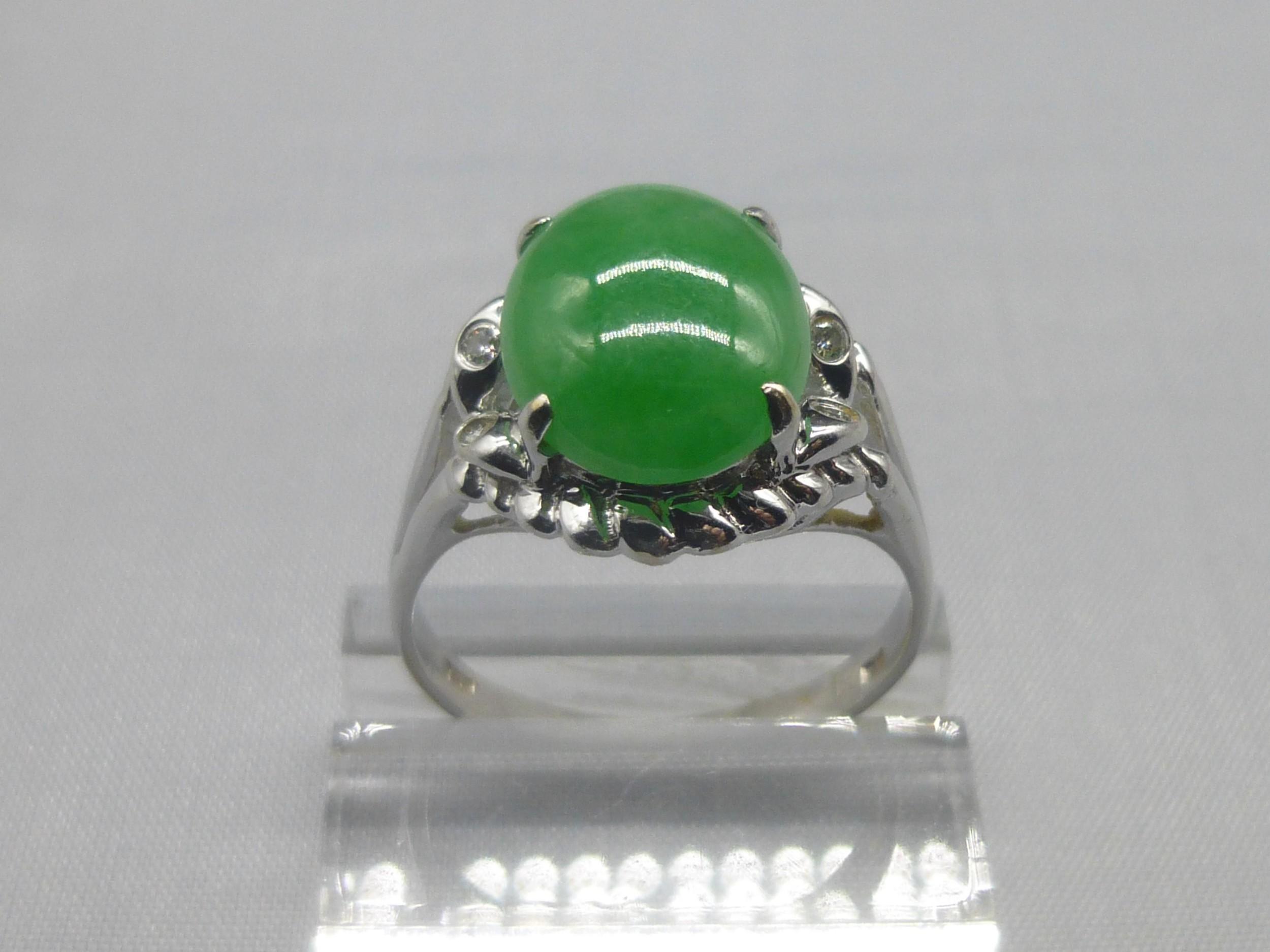 jade and diamond 18ct ring