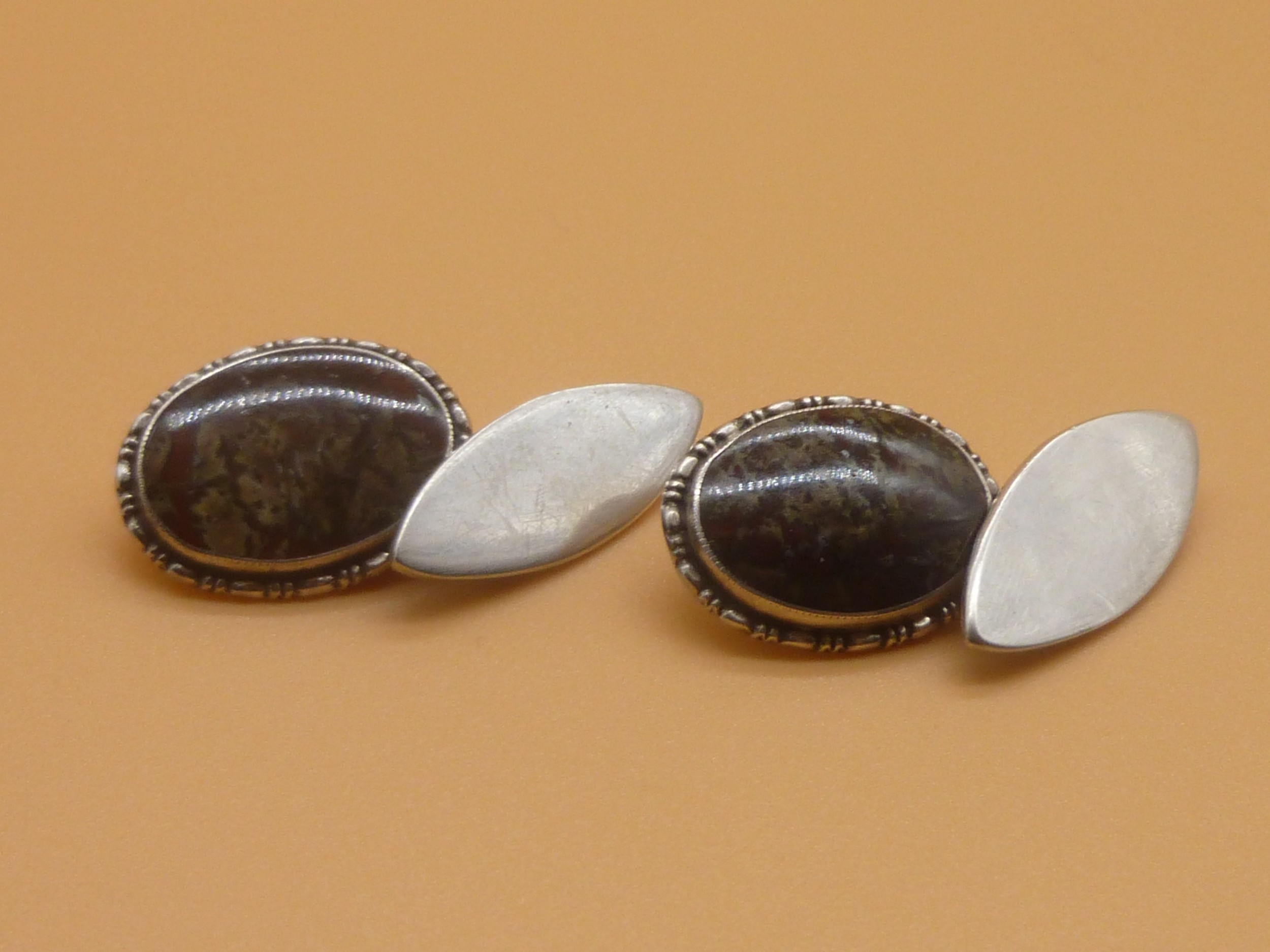 sterling silver and agate cufflinks