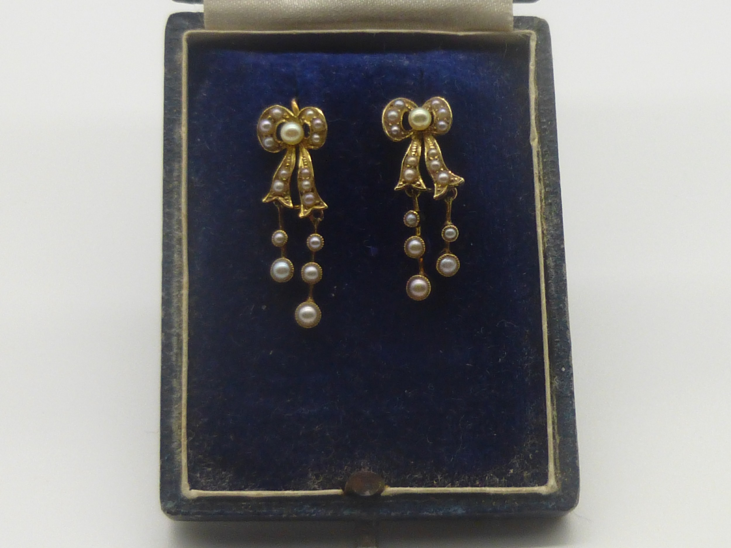 antique edwardian 15ct gold and seed pearl drop earrings