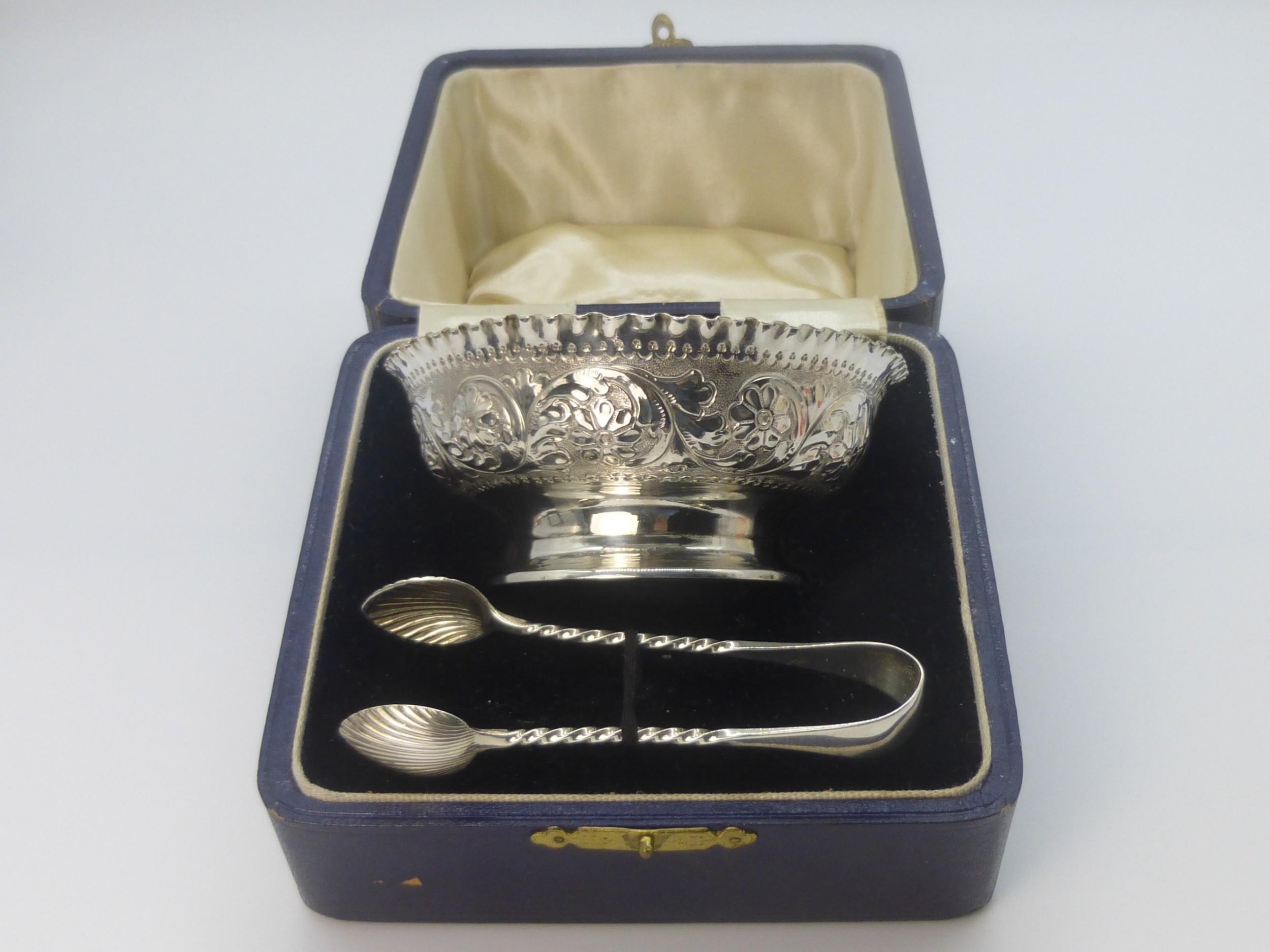 victorian silver sugar bowl and tongs