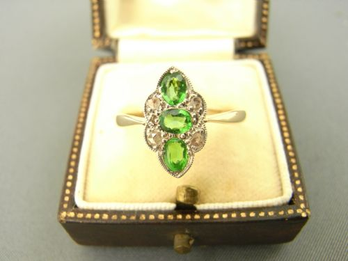 green garnet and diamond ring