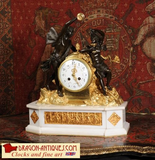 antique french ormolu bronze and white marble clock bacchus and ariadne