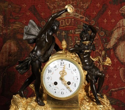 antique french ormolu bronze and white marble clock bacchus and ariadne - photo angle #2