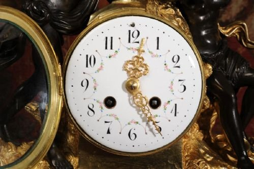 antique french ormolu bronze and white marble clock bacchus and ariadne - photo angle #4
