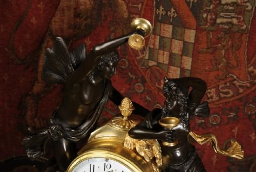 antique french ormolu bronze and white marble clock bacchus and ariadne - photo angle #3
