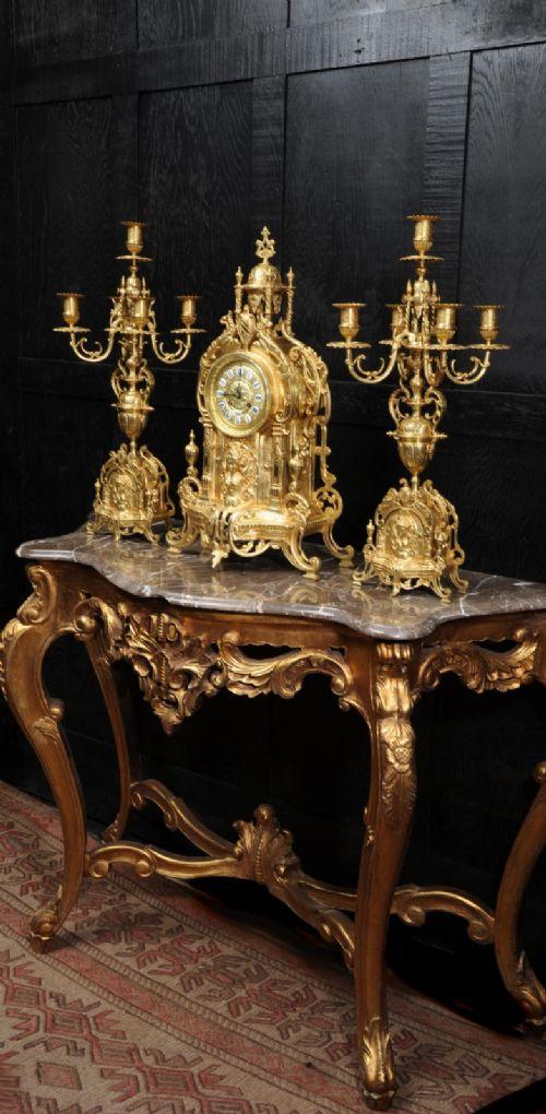 large gilt bronze clock set goddess nike