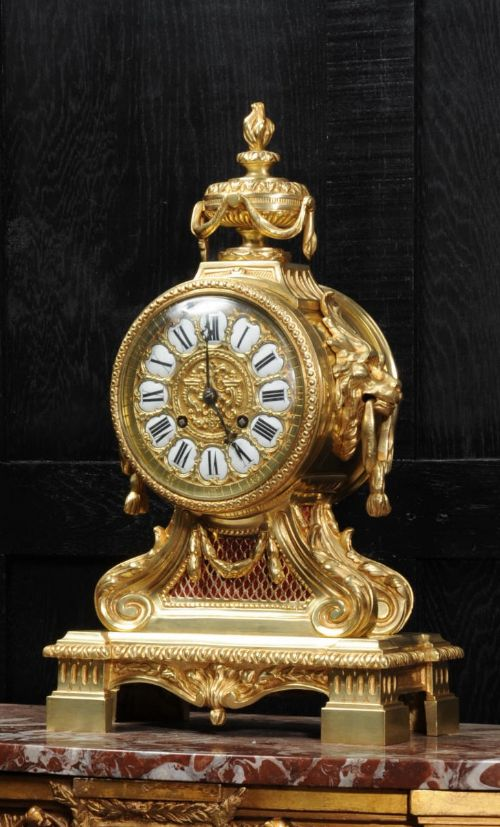 large antique french gilt bronze drum head clock by louis japy
