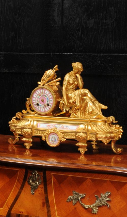 apy freres sevres porcelain and gilt metal clock euterpe muse of the arts