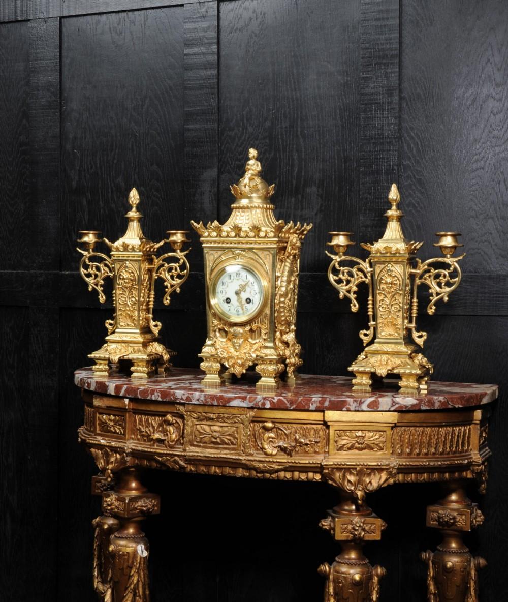 japy freres louis xvi gilt bronze set