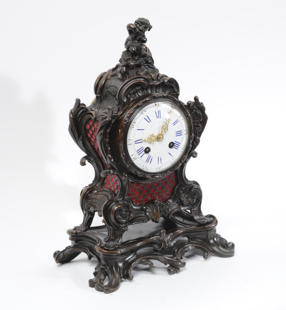 japy freres rococo bronze table clock music