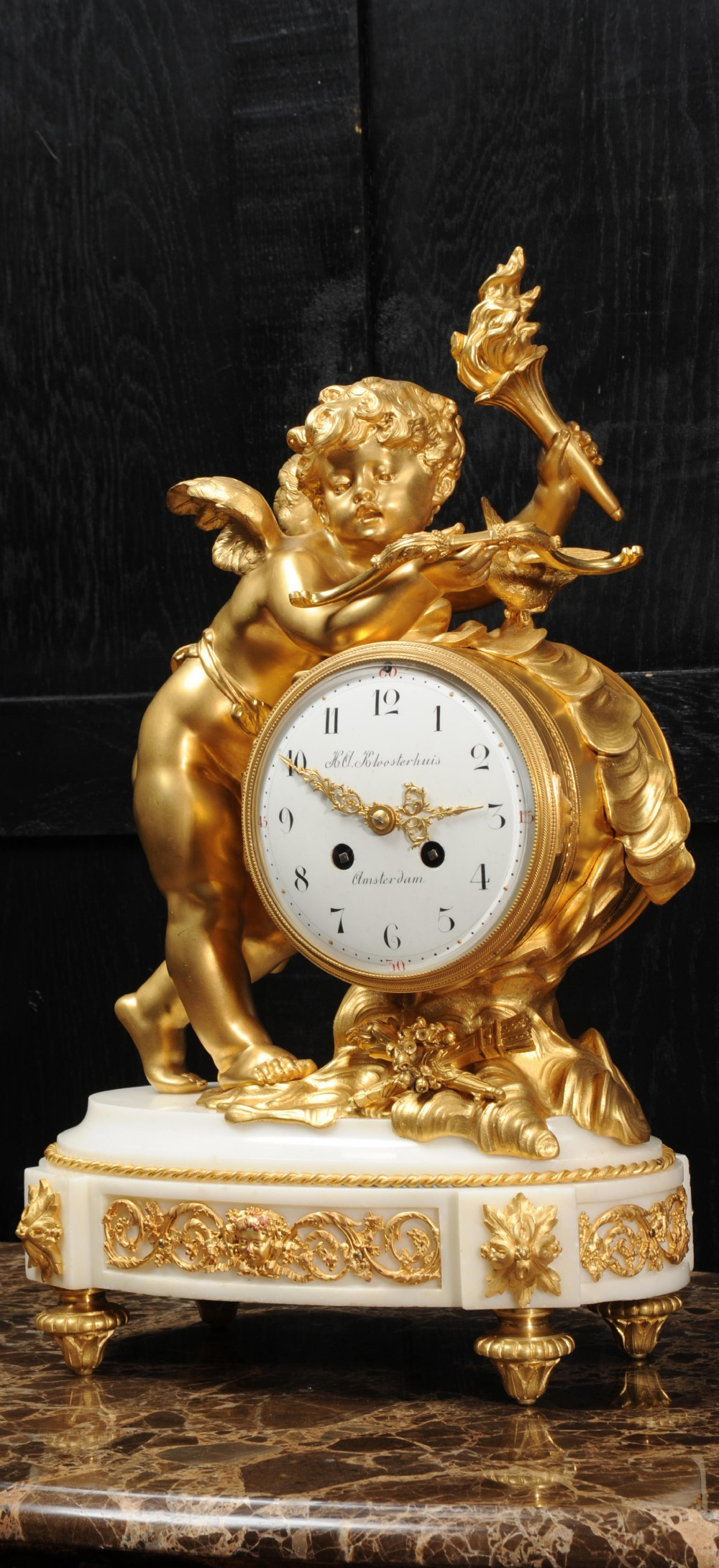 cupid superb antique french ormolu and white marble clock