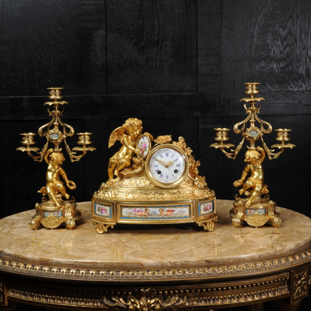 japy freres early antique french ormolu and sevres porcelain clock set