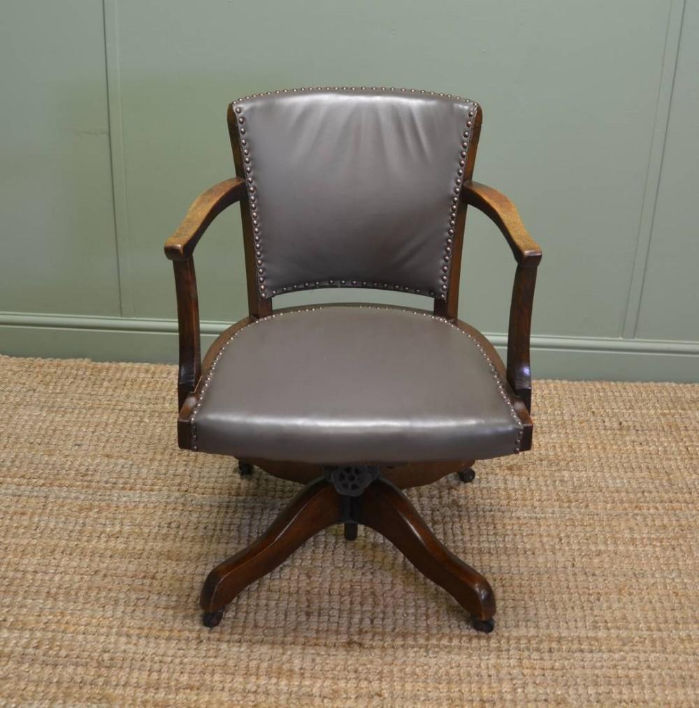 Art deco antique solid oak swivel desk chair 286618 for Chair with swivel desk