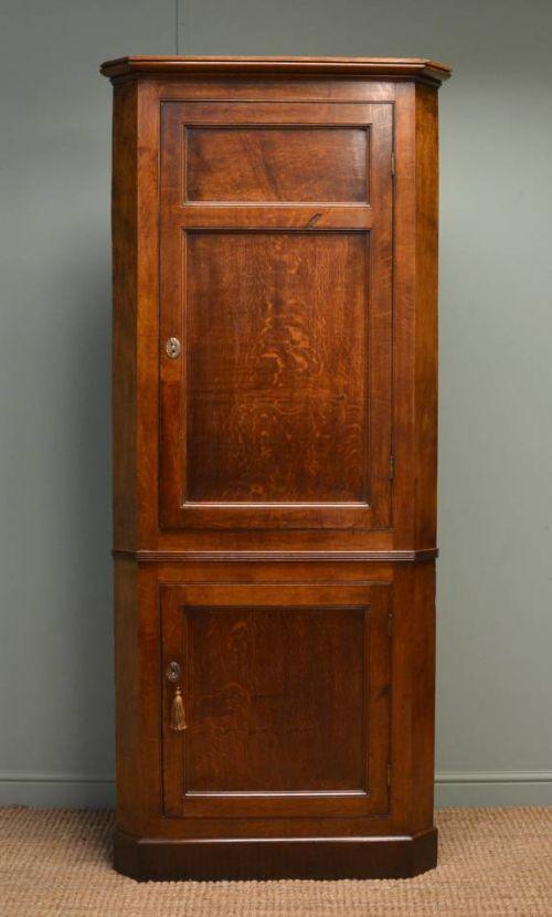 quality georgian figured oak large antique floor standing corner cupboard - Quality Georgian Figured Oak Large Antique Floor Standing Corner