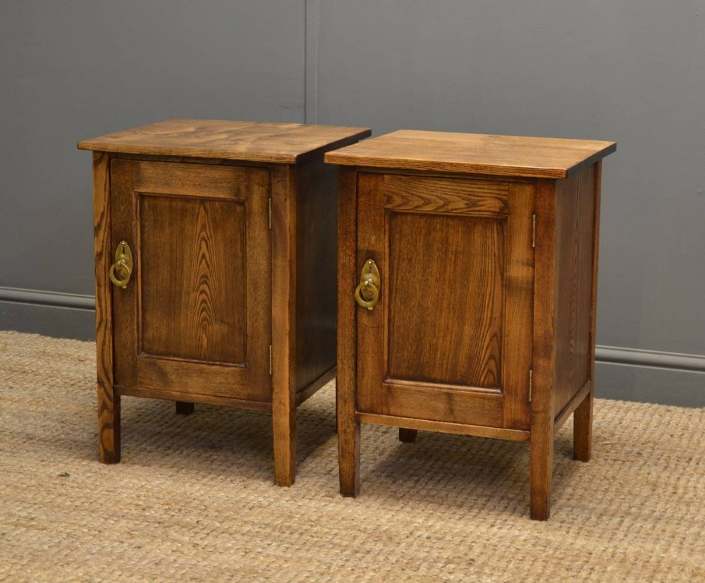 unusual pair of arts crafts antique ash bedside cabinets