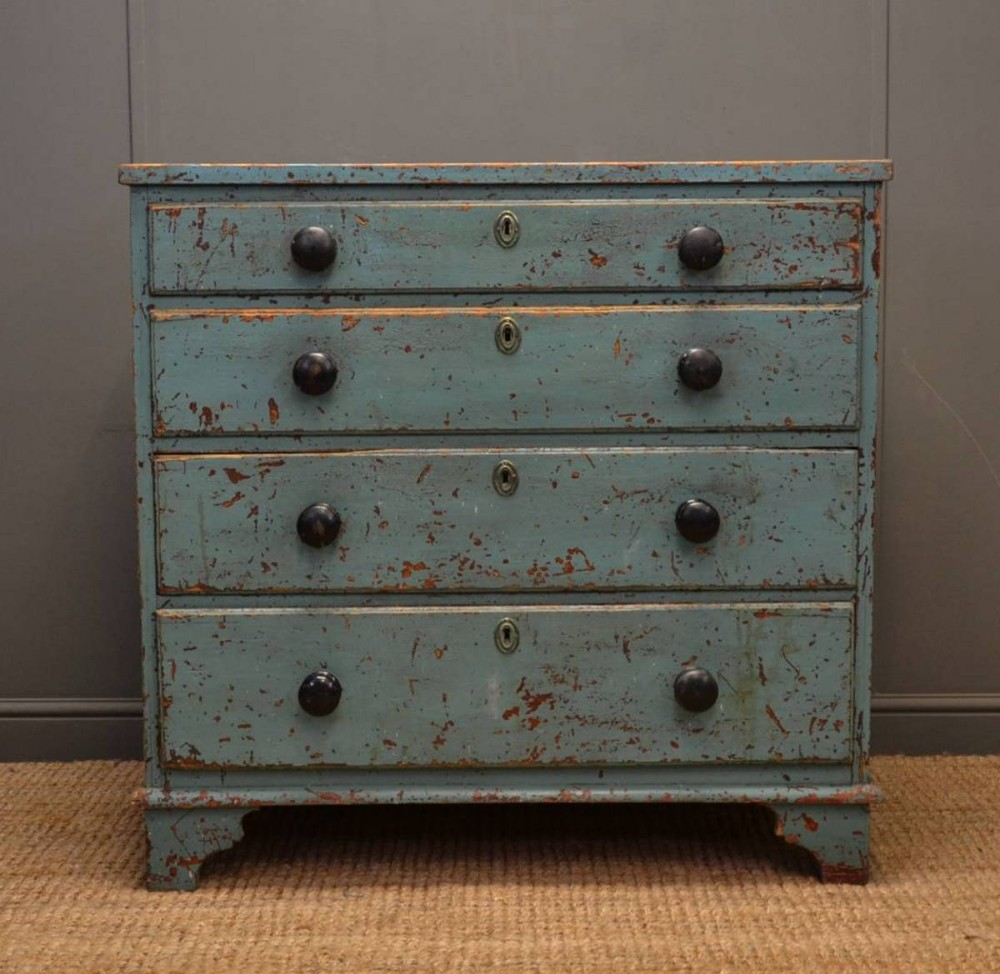Rustic painted georgian antique chest of drawers