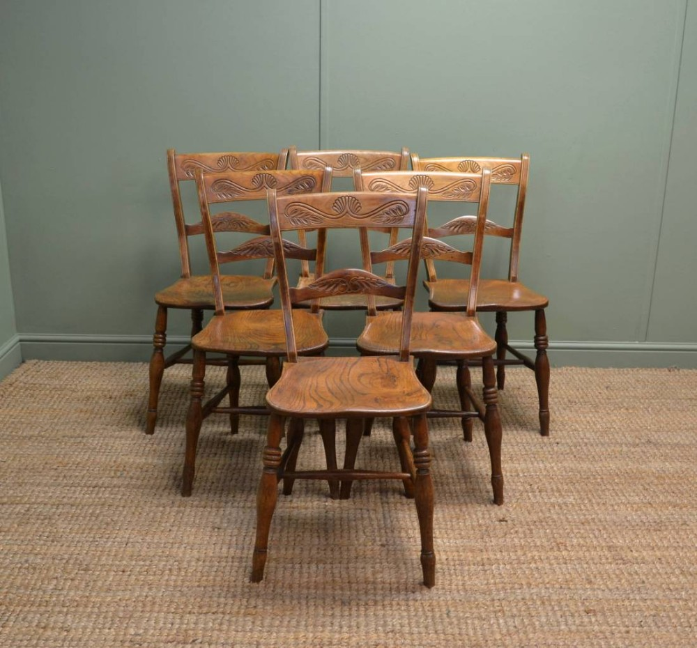 set of six victorian elm antique country kitchen chairs - Set Of Six Victorian Elm Antique Country Kitchen Chairs. 255815