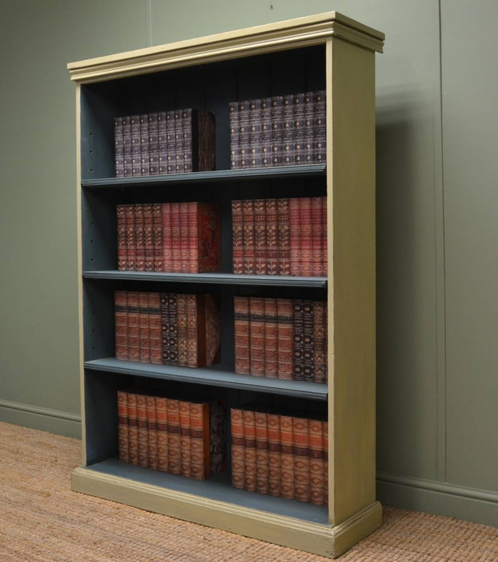 Great Large Victorian Painted Antique Open Bookcase