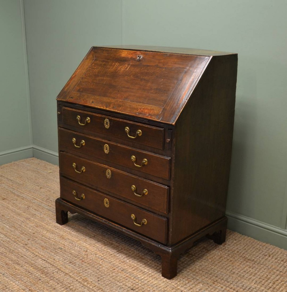 early georgian oak country antique bureau 258618. Black Bedroom Furniture Sets. Home Design Ideas